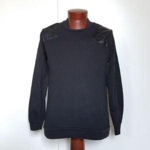 21MEN Black Sweater with Faux Leather Shoulders